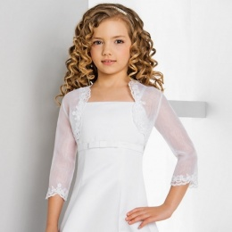 Girls Lace Trim Organza Bolero by Lacey Bell Style CJ25