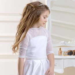 Girls Beaded Tulle 3/4 Sleeve Topper by Lacey Bell Style CJ100