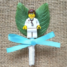 Boys Lego Doctor Buttonhole with Satin Bow & Stem