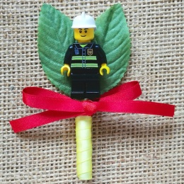 Boys Lego Fireman Buttonhole with Satin Bow & Stem