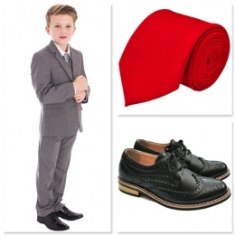 Boys Light Grey Communion 5 Piece Suit, Shoes & Tie
