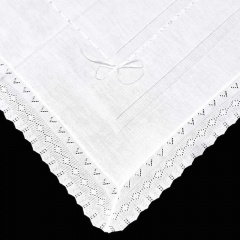 Luxury White Scalloped Crochet Baby Shawl with Ribbon Trim