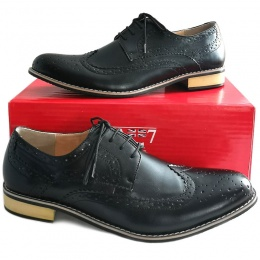 Mens Black Leather Derby Brogue Shoes