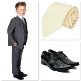 Boys Mid Grey Communion 5 Piece Suit, Shoes & Tie