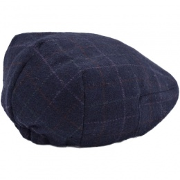 Boys Navy Tweed Check Wool Flat Cap