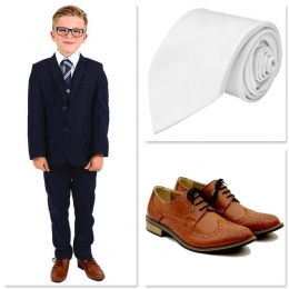 Boys Navy Communion 5 Piece Suit, Shoes & Tie