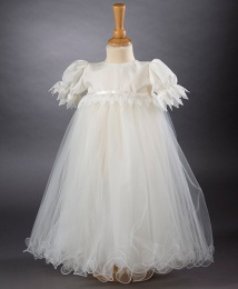 Poppy by Millie Grace - Baby Girls Lace & Tulle Christening Gown & Bonnet