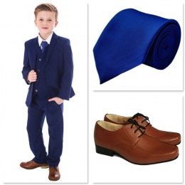 Boys Royal Blue Communion 5 Piece Suit, Shoes & Tie