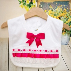 White Cotton Bib with Lace & Hot Pink Satin Ribbon Bow
