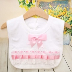 White Cotton Bib with Lace & Baby Pink Satin Ribbon Bow