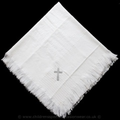 White Baby Christening Shawl with Silver Cross