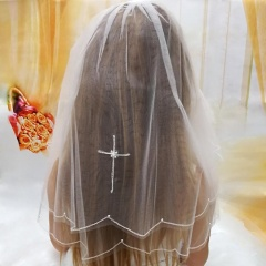 Girls First Holy Communion White Veil with Pearl Cross