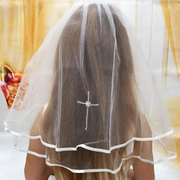 Girls White Two Tier Communion Veil with Satin Edge & Cross