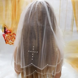Girls White Two Tier Communion Veil with Pearl Cross