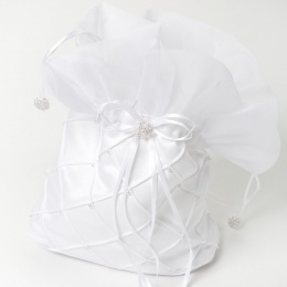Girls White Duchess Satin Bead Quilted Dolly Bag