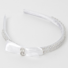 Girls White Diamante & Satin Bow Headband Alice Hair Band