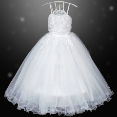Girls White Crystal Lavished Embroidered Dress with Hoop