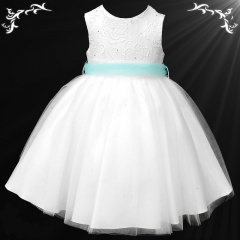 Girls White Diamante & Organza Dress with Aqua Sash