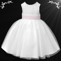 Girls White Diamante & Organza Pink Sash Dress