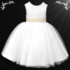 Girls White Diamante & Organza Dress with Champagne Sash