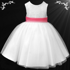 Girls White Diamante & Organza Dress with Coral Sash