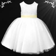 Girls White Diamante & Organza Dress with Lemon Sash