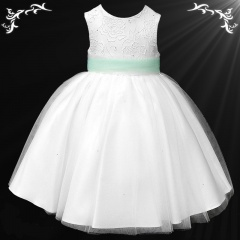 Girls White Diamante & Organza Dress with Mint Sash