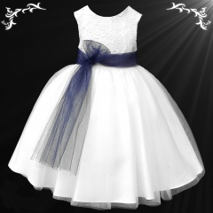 Girls White Diamante & Organza Navy Sash Dress