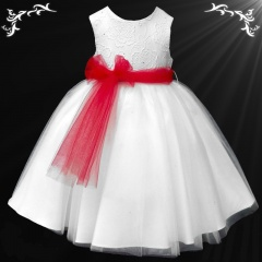 Girls White Diamante & Organza Dress with Red Sash