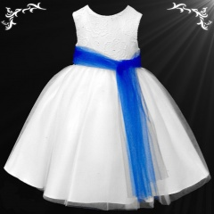 Girls White Diamante & Organza Dress with Royal Blue Sash
