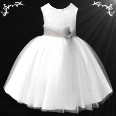 Girls White Diamante & Organza Dress with Silver Sash