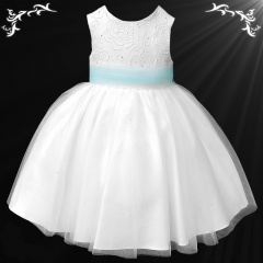 Girls White Diamante & Organza Sky Blue Sash Dress