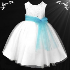 Girls White Diamante & Organza Dress with Turquoise Sash