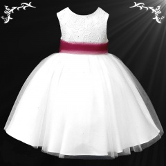 Girls White Diamante & Organza Dress with Wine Sash
