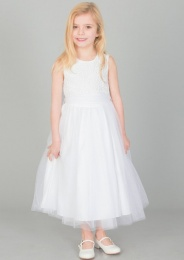 Girls White Diamante & Organza Sash Dress