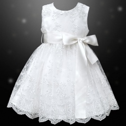 Girls White Floral Lace Dress with Satin Sash