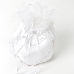 Girls White Duchess Satin Beaded Heart Dolly Bag