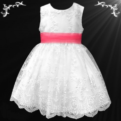 Girls White Floral Lace Dress with Coral Organza Sash