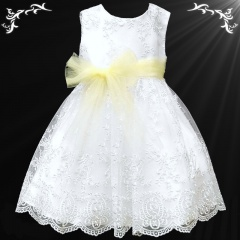 Girls White Floral Lace Dress with Lemon Organza Sash