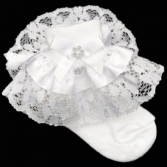 Girls White Lace Ribbon & Diamante Bow Socks