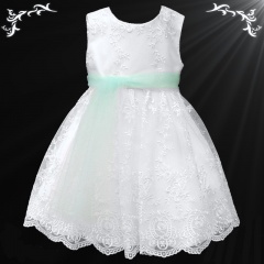 Girls White Floral Lace Dress with Mint Organza Sash
