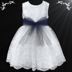 Girls White Floral Lace Dress with Navy Organza Sash