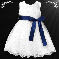 Girls White Floral Lace Dress with Navy Satin Sash