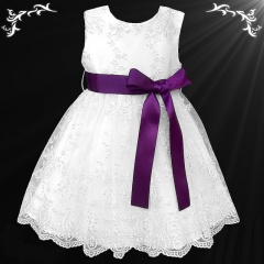 Girls White Floral Lace Dress with Purple Satin Sash