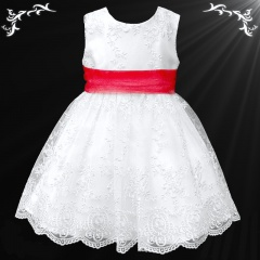 Girls White Floral Lace Dress with Red Organza Sash