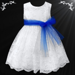 Girls White Floral Lace Dress with Royal Blue Organza Sash