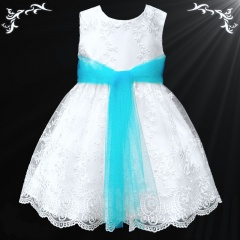 Girls White Floral Lace Dress with Turquoise Organza Sash
