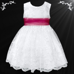 Girls White Floral Lace Dress with Wine Organza Sash