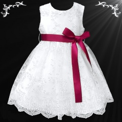 Girls White Floral Lace Dress with Wine Satin Sash
