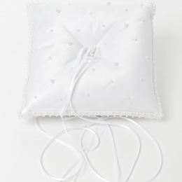 White Pearl Beaded Square Satin Ring Cushion